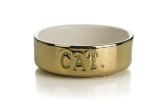 Beeztees keramieke voer- of waterbak 'Cat'goud