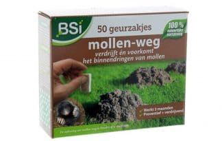 Mollen in uw tuin is erg vervelend. Met BSI Mollen-weg geurzakjes weert u ze op een diervriendelijke manier. De zakjes geven een geur af waar mollen niet van houden, zodat ze deze plekken vermijden.