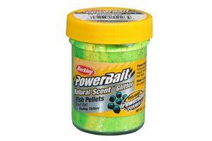 Berkley PowerBait Natural Scent fish pellet green-yellow