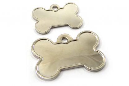 Hondenpenning Deluxe kluifje Shine is ideaal om aan de halsband of tuig te bevestigen. Wij graveren gratis jouw gegevens op de penning.