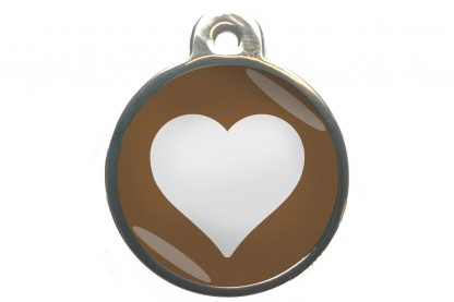 Dierenpenning hart chroom-effect bruin