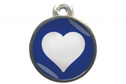 Dierenpenning hart chroom-effect donkerblauw