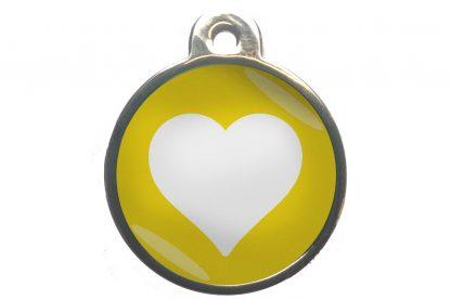 Dierenpenning hart chroom-effect geel