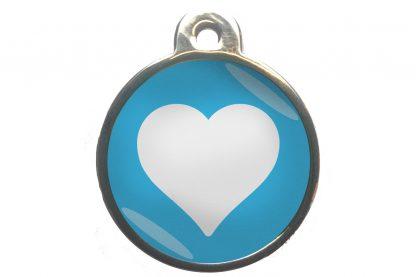 Dierenpenning hart chroom-effect lichtblauw
