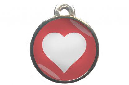Dierenpenning hart chroom-effect lichtroze