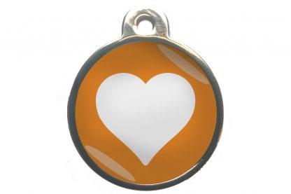Dierenpenning hart chroom-effect oranje