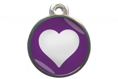 Dierenpenning hart chroom-effect paars