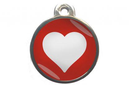 Dierenpenning hart chroom-effect rood