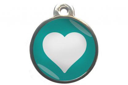 Dierenpenning hart chroom-effect turquoise