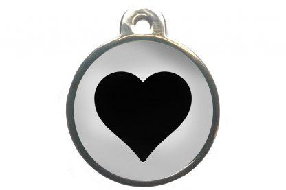 Dierenpenning hart chroom-effect wit