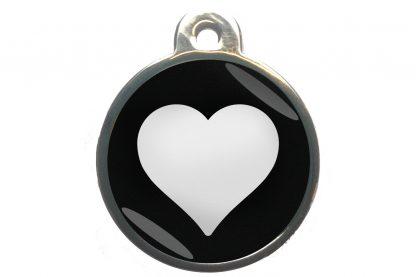 Dierenpenning hart chroom-effect zwart