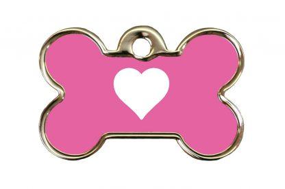 Hondenpenning kluifje met hart is ideaal om aan de halsband of tuig te bevestigen. Wij graveren gratis jouw gegevens op de penning.