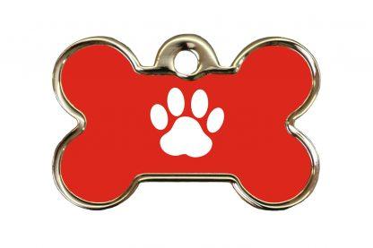 Hondenpenning kluifje met pootafdruk is ideaal om aan de halsband of tuig te bevestigen. Wij graveren gratis jouw gegevens op de penning.