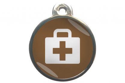 Dierenpenning medkit chroom-effect bruin