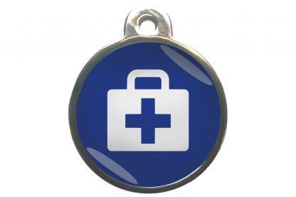 Dierenpenning medkit chroom-effect donkerblauw