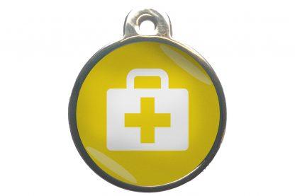 Dierenpenning medkit chroom-effect geel