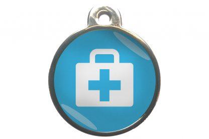 Dierenpenning medkit chroom-effect lichtblauw