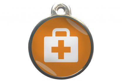 Dierenpenning medkit chroom-effect oranje
