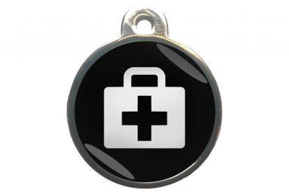Dierenpenning medkit chroom-effect zwart