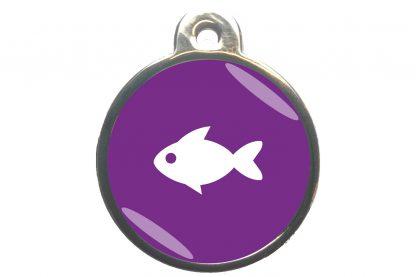 Kattenpenning vis classic is ideaal om aan de halsband of tuig te bevestigen. Wij graveren gratis jouw gegevens op de penning.