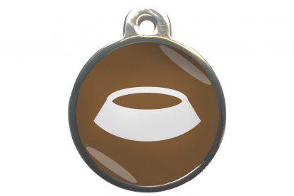 Dierenpenning voerbak chroom-effect bruin