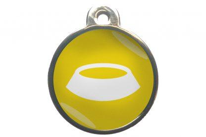 Dierenpenning voerbak chroom-effect geel