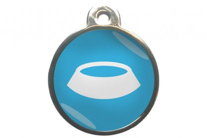 Dierenpenning voerbak chroom-effect lichtblauw