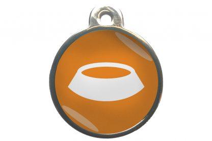 Dierenpenning voerbak chroom-effect oranje