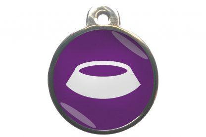 Dierenpenning voerbak chroom-effect paars