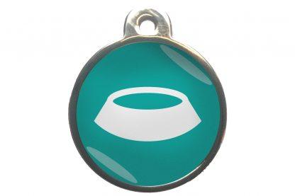 Dierenpenning voerbak chroom-effect turquoise