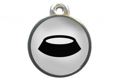 Dierenpenning voerbak chroom-effect wit