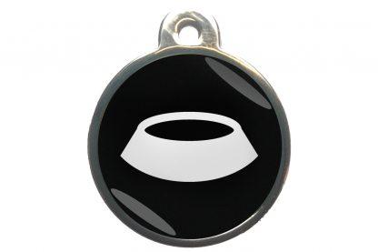 Dierenpenning voerbak chroom-effect zwart