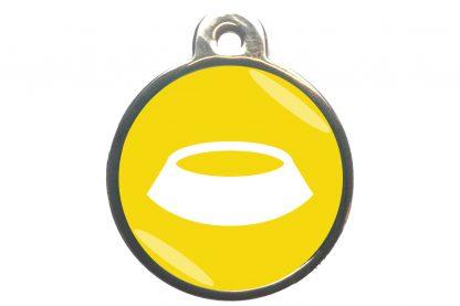 Dierenpenning voerbak classic geel