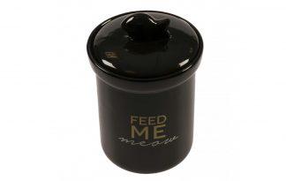 De Duvo+ Koekjespot Feed-me-meow is gemaakt van keramiek met zwart glazuur. De koekjespot is vaatwasbestendig en van stevige kwaliteit.