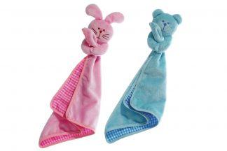Een knuffeldeken/knuffeldoekje voor de puppy. Gemaakt van zacht baby pluche materiaal. Voorzien van een pieper.