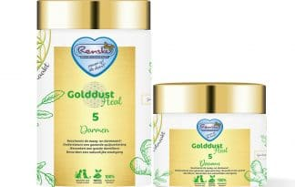 Renske Golddust Darmen ondersteunt uw hond of kat bij een goede darmwerking en bevordert de stoelgang.