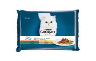 Gourmet Perle Mini Filets in saus portiezakjes met rund, kip, konijn & zalm