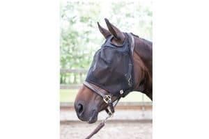Het Harry's Horse vliegenmasker Flyshield zonder oren is gemaakt van stevig materiaal en rondom met fleece afgewerkt.