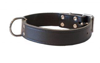 Lederen halsband breed enkel