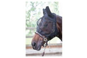 Het Harry's Horse vliegenmasker Flyshield is gemaakt van stevig materiaal en rondom met fleece afgewerkt.