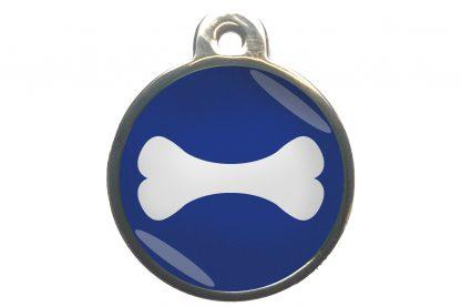 Hondenpenning bot chroom-effect donkerblauw