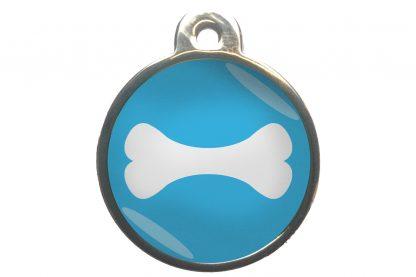 Hondenpenning bot chroom-effect lichtblauw