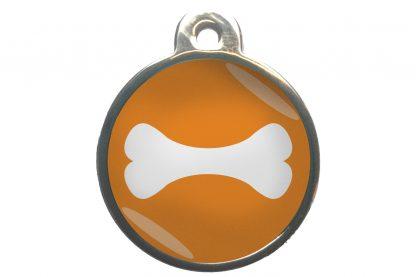 Hondenpenning bot chroom-effect oranje