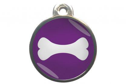 Hondenpenning bot chroom-effect paars