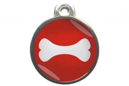 Hondenpenning bot chroom-effect rood
