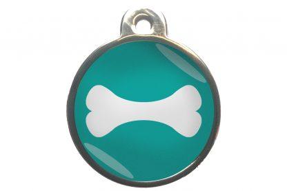 Hondenpenning bot chroom-effect turquoise