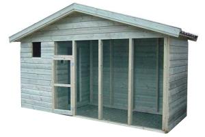 Huismerk geïmpregneerd houten volière 440 cm met puntdak en nachthok