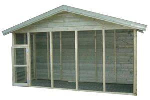 Huismerk geïmpregneerd houten volière 440 cm met puntdak