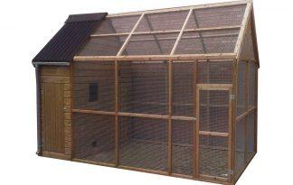 Huismerk geïmpregneerd houten volière met nachthok 395 cm