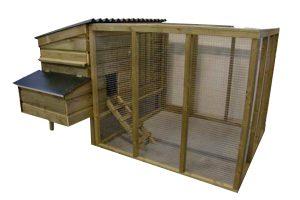 Huismerk kippenhok met ren en legbak 0250